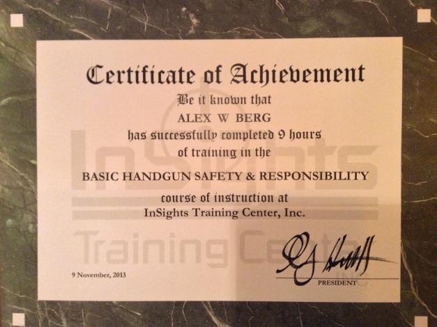 Basic Handgun from Insights Training - November 9, 2013