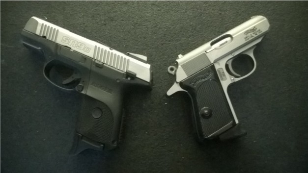 The Walther PPK and Ruger SR9C - both designed for concealment.